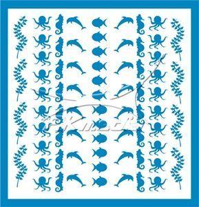 Samolepka pro nail art animal sea 04 světlá modrá