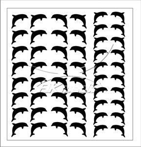 Samolepka pro nail art delfínci černá