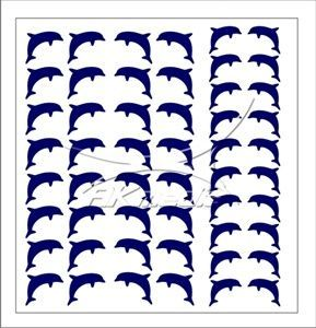 Samolepka pro nail art delfínci tmavá modrá