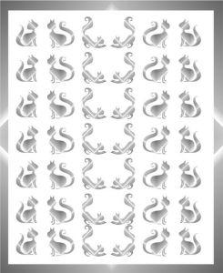 Samolepka pro nail art kočka 11 stříbrná
