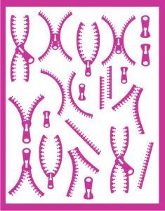 Samolepka pro nail art zip 3 růžová tmavá