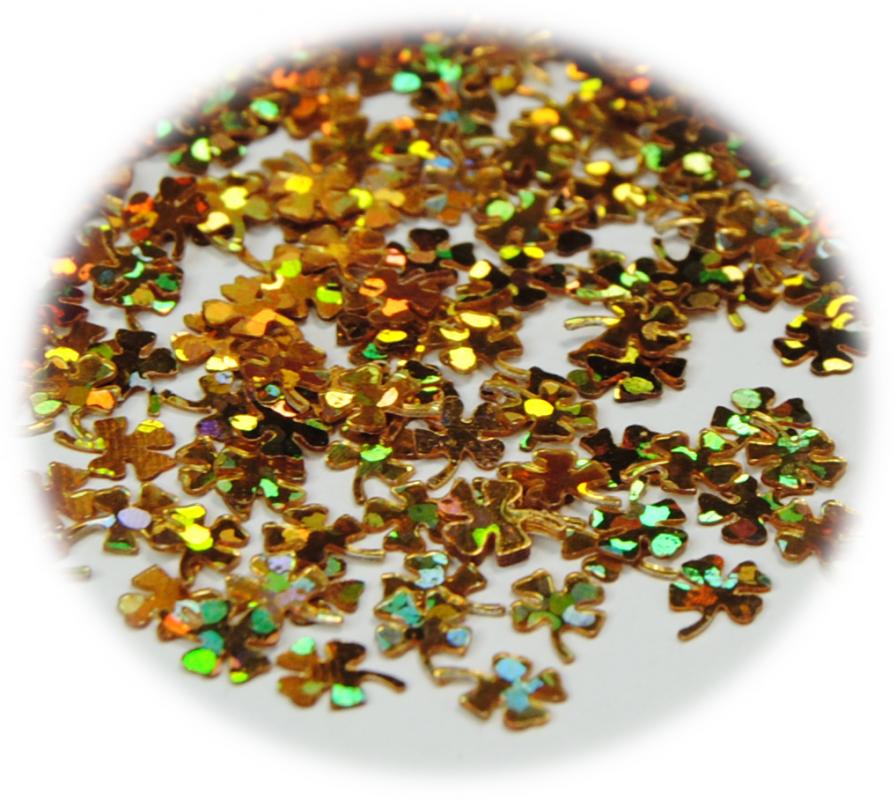 Čtyřlístek pro zdobení nehtů zlatá hologram